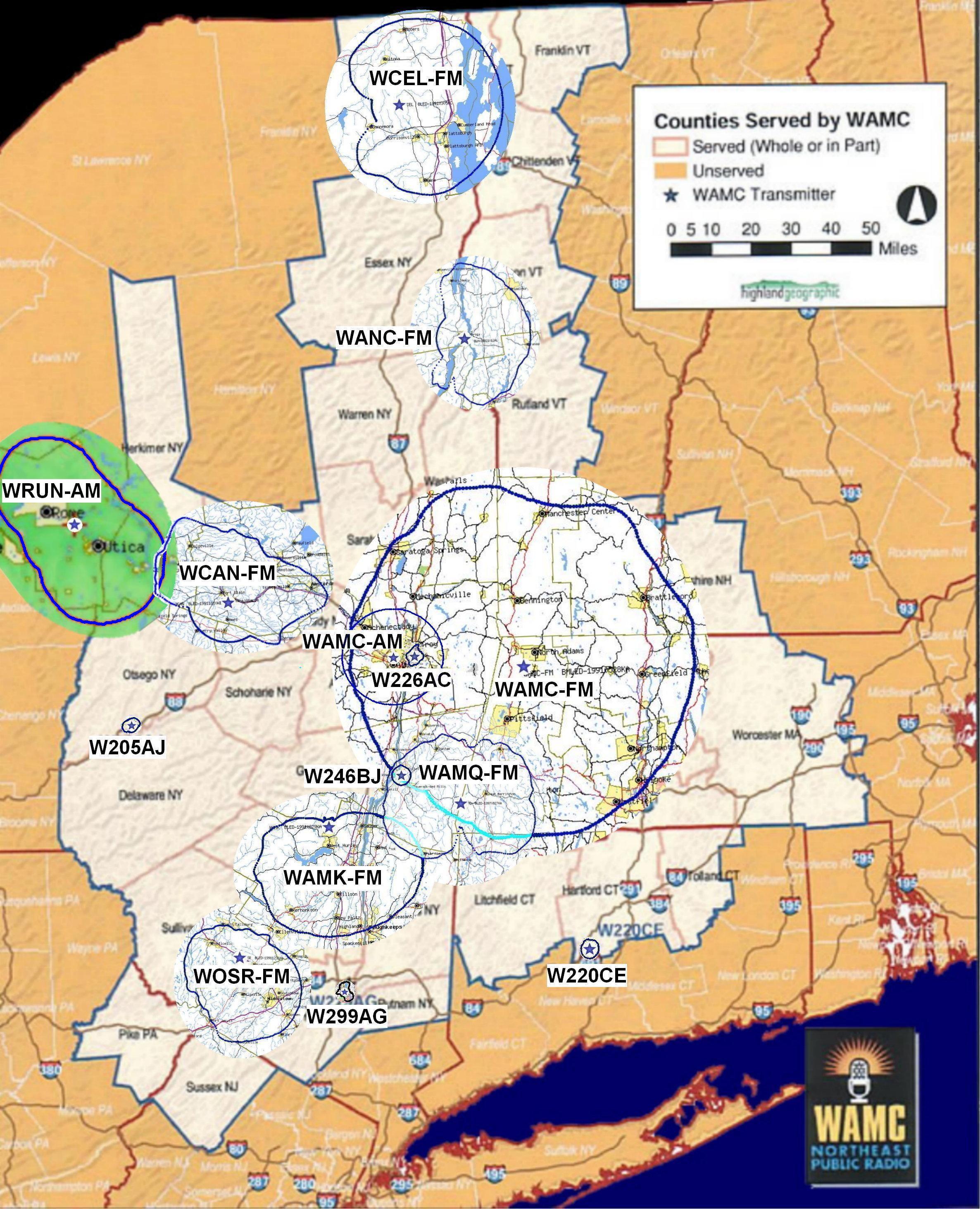 Erp Site Map: STATIONS, TRANSLATORS, WATTAGE