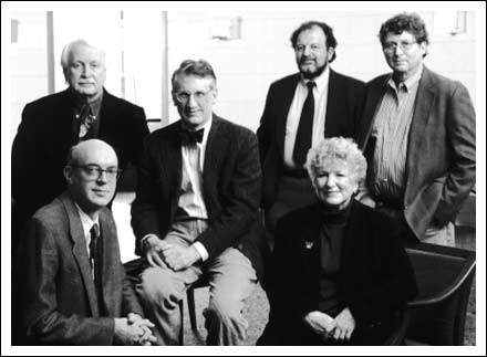 Thomas S.W. Lewis (middle) with Skidmore College colleagues
